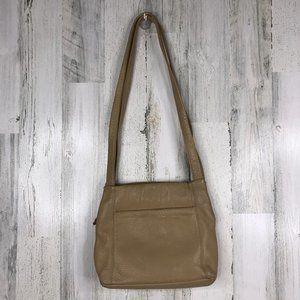 Stone Mountain beige pebbled leather shoulder bag